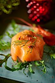 Salmon parcel with dill and pink pepper for Christmas