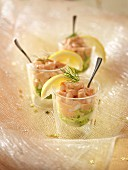 Shrimp cocktail in glasses
