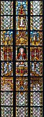 A window in St Thomas' Church with a portrait of Bach in Leipzig, Germany