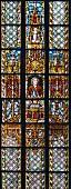 Die Kirchenfenster von der Thomaskirche mit Portrait von Bach, Leipzig, Deutschland