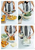Einfache vegetarische Lasagne mit Kürbis und Spinat zubereiten
