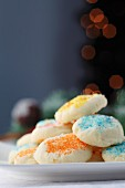 Christmas biscuits decorated with coloured sugar