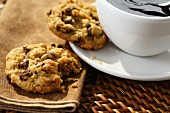 Cookies with cranberries served with coffee