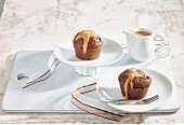 Chocolate muffins with caramel sauce