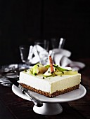 A square apple cheesecake