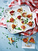 Tortilla chips with cream cheese and chorizo