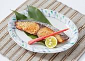 Grilled mackerel fermented in saikyou miso (Japan)