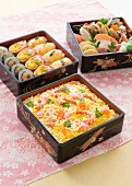 Various Japanese lunch dishes