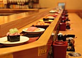 Conveyor belt sushi in a restaurant