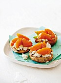 Brioche toast topped with ricotta and steamed peaches