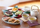 Japanese sweet treats and green tea