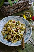 Tagliatelle with hazelnuts, bacon and sage pesto