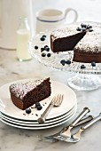 Flourless chocolate cake with blueberries