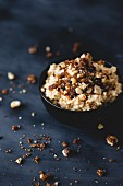 Caramel millet porridge with caramelised nuts