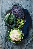 Various types of cabbages on a grey flecked surface