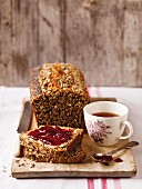 Homemade multi-grain bread with jam