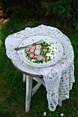 Hirsesalat mit Spargel, Ziegenkäse, Radieschen und Schnittlauch auf altem Gartenstuhl