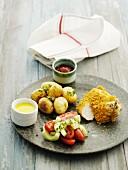 Hähnchenkeule mit Cornflakes-Kruste und Ofenkartoffeln