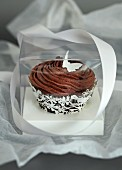 A chocolate cupcake as a gift