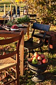 A table laid outside an autumn garden