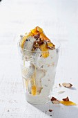 Semi-freddo with dates, date honey and roasted almonds
