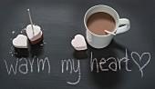 Hot chocolate with heart-shaped marshmallows for Valentine's Day
