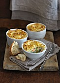 Vegetable and salmon pies