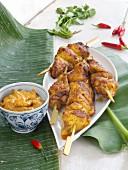 Chicken skewers with peanut sauce (Thailand)