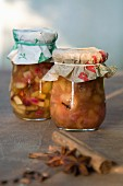 Grandma's recipe: jars of pear chutney with cinnamon, cloves and anise