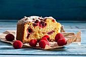 A slice of raspberry sponge cake