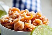 A bowl of fresh shrimps (close-up)