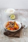 Sweet potato curry with carrots, shiitake mushrooms and basmati rice