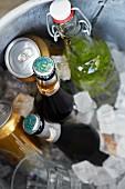 Verschiedene Getränke im Eiskübel
