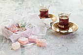 Two glasses of cay tea and Turkish delight (Turkey)