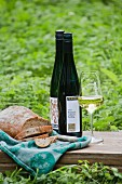 Bread and wine from the Franzen vineyard, Bremm, Rhineland Palatinate, Germany