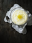 Lemon cream with lemon zest
