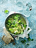 Vegetable soup with watercress