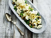 Cauliflower with chickpeas and spring onions