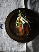 Smoked salmon crostino