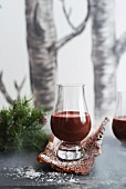 Homemade chocolate and coconut liqueur for Christmas