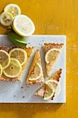 Lemon pie, sliced, with lemon slices