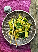 Courgette salad with seabass (Asia)