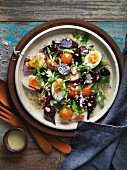 Beetroot salad with hard-boiled eggs and rocket