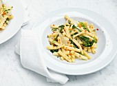 Casarecce with broccoli, chillis, almonds and Parmesan cheese