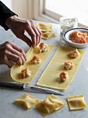 Salmon ravioli being made