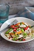 Potato salad with chicken and peppers