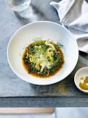 Tintenfisch-Fenchel-Salat mit in Krabbensauce