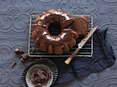 Chocolate Bundt cake with chocolate glaze, sliced