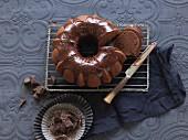 Chocolate Bundt cake with chocolate glaze, sliced
