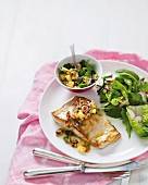 Grilled fish with a passion fruit and pineapple salsa